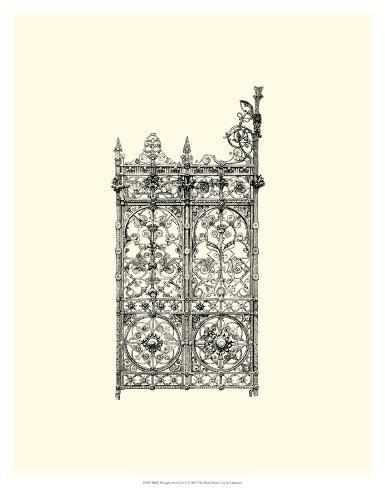 B&W Wrought Iron Gate V Giclee Print