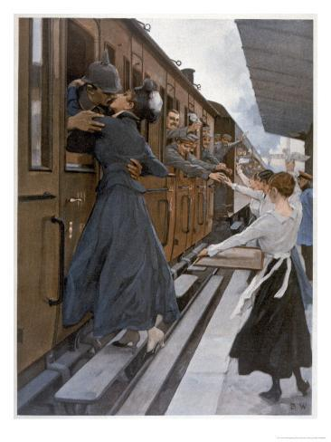 German Troops Return to the Front Kissed and Waved Goodbye from Their Womenfolk Giclee Print