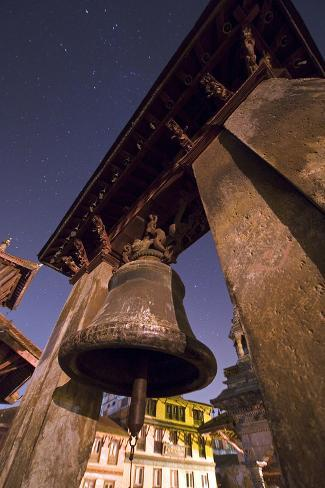 An Ancient Bell at Night in Durbar Square, a Complex of Historic Temples and Monuments Photographic Print