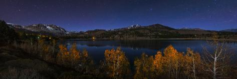 The Night Sky over a Moonlit Autumn Landscape at June Lake and the Sierra Nevada Mountains Photographic Print