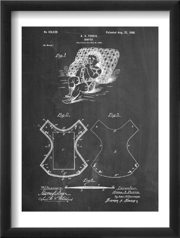 Baby Diaper Patent Framed Art Print