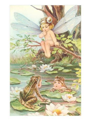 Baby with Dragonfly Wings and Frog Children Art Print