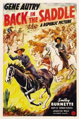 BACK IN THE SADDLE, from left: Gene Autry, Smiley Burnette, 1941. Stampa artistica