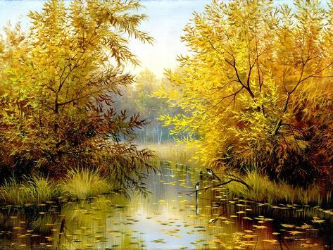 Autumn Wood Lake With Trees And Bushes Art Print