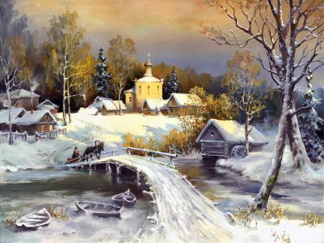 Rural Landscape, Oil On A Canvas Art Print