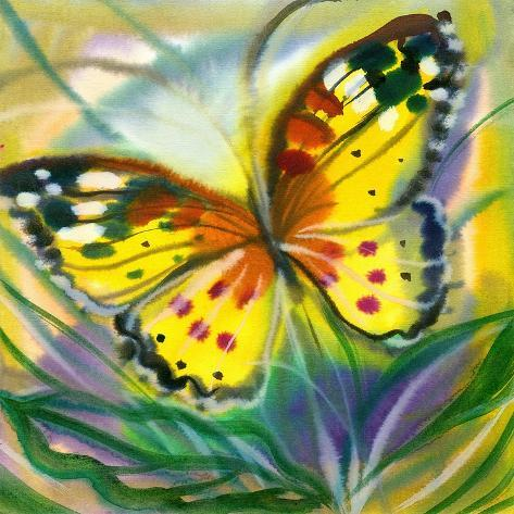 The Yellow-Red Butterfly In Flight Art Print