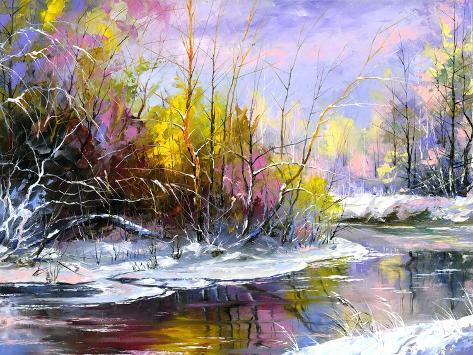 Winter Landscape With The Wood River Art Print