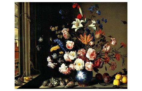 Dutch Vase of Flowers by a Window Giclee Print
