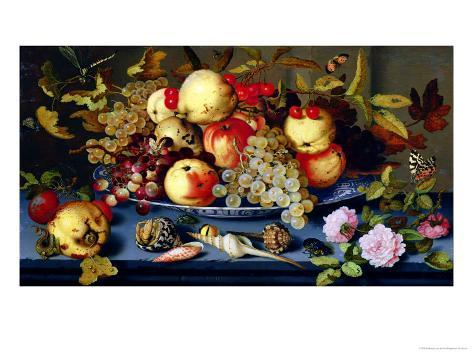 Still Life with Fruit, Flowers and Seafood Giclee Print