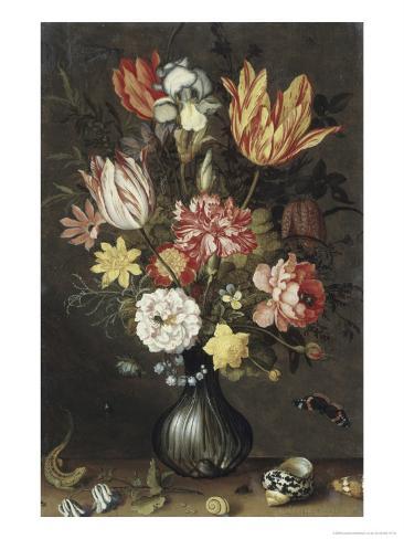 Tulips, Carnations, an Iris Giclee Print