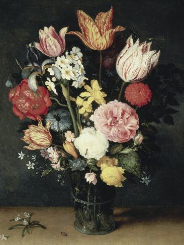Tulips, Roses and Other Flowers in a Glass Giclee Print