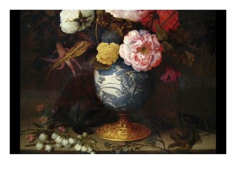 Wan-Li Vase with Flowers Stretched Canvas Print