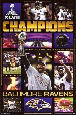 Baltimore Ravens Super Bowl XLVII Champions Celebration Poster