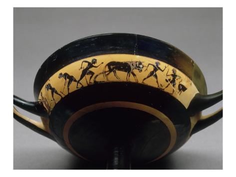Band Cup Attic Black-Figure Said Cutting Fieldwork Stretched Canvas Print