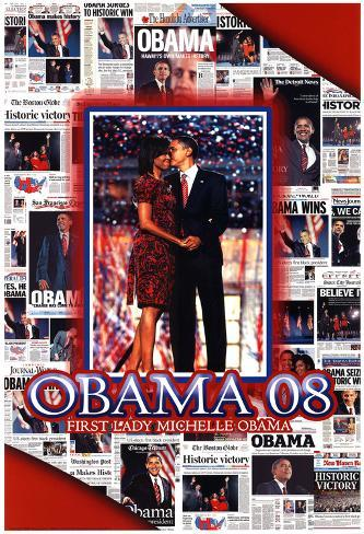 Barack and Michelle Obama Newspapers Jones Art Print