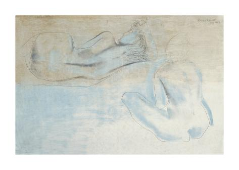 Two Figures by the Sea Premium Giclee Print