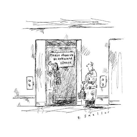 In an elevator a sign reads, Please Observe an Awkward Silence.  - New Yorker Cartoon Premium Giclee Print