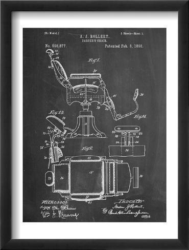 Barber's Chair Patent Framed Art Print