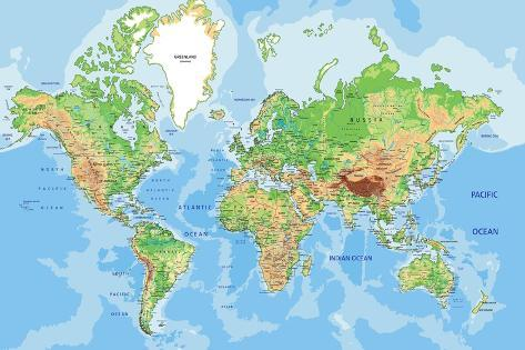 Highly detailed physical world map with labeling vector highly detailed physical world map with labeling vector illustration gumiabroncs Gallery