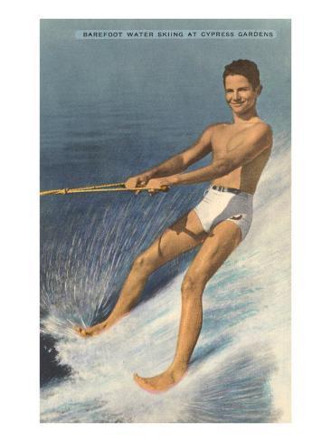 Barefoot Water Skier, Cypress Gardens, Florida Art Print