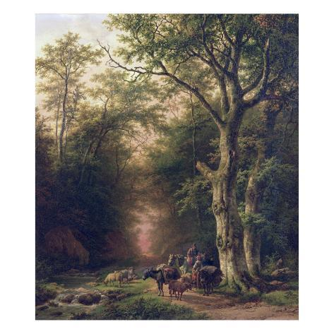 Wooded Landscape with Peasants Giclee Print