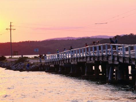 People Fishing from Wooden Bridge at Wallaga Lake Bermagui, New South Wales, Australia Photographic Print