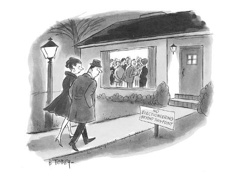 Couple going to cocktail party in the suburbs observe sign on lawn: 'No El… - New Yorker Cartoon Premium Giclee Print