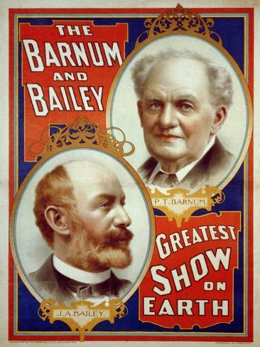 Barnum and Bailey Greatest Show on Earth with Portrait of P.T. Barnum and J.A. Bailey Fotografía