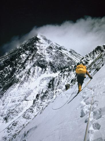 Climbers, 25,000 Feet Up, Push on Toward the Summit of Mount Everest Photographic Print