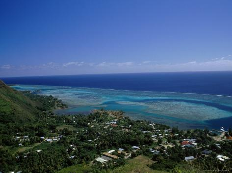 Aerial View of Moorea Showing Village and Reefs Photographic Print