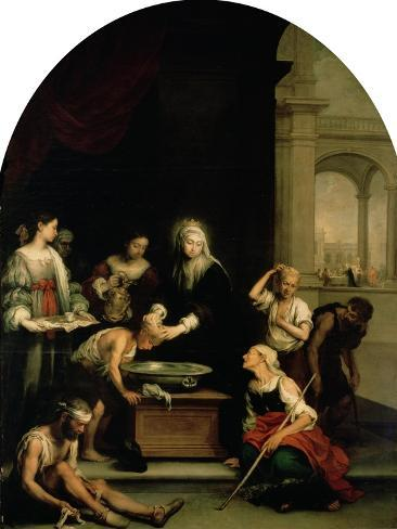 St. Elizabeth of Hungary Tending the Sick and Leprous, circa 1671-74 Giclee Print