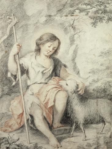 The Young John the Baptist with the Lamb in a Rocky Landscape Lámina giclée