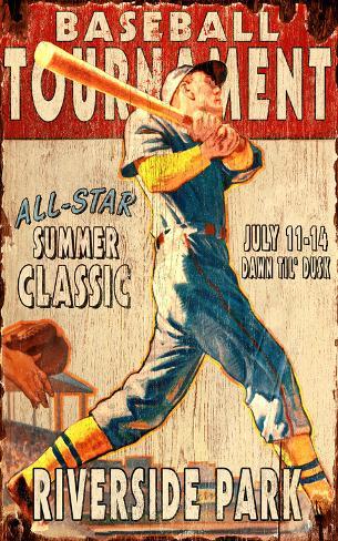 Baseball Game Vintage Wood Sign