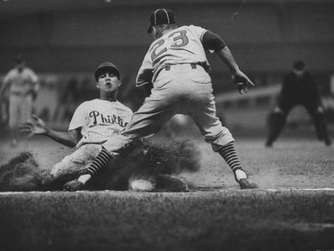 Baseball Player Chico Fernandez Sliding into Base Premium Photographic Print