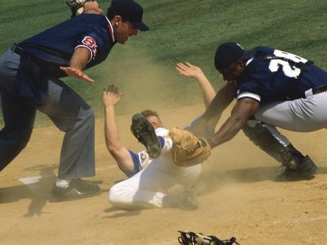 Baseball Player Sliding on a Base Photographic Print