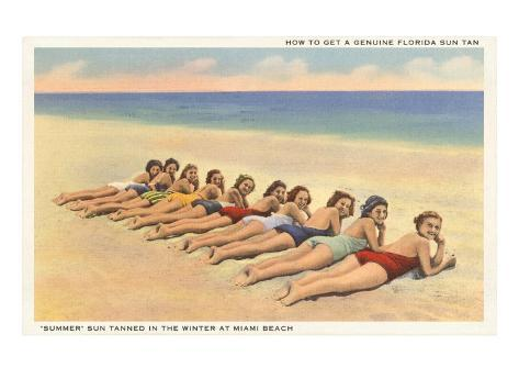 Bathing Beauties on Miami Beach, Florida Stampa artistica