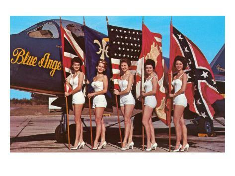 Bathing Beauties with Flags and Blue Angel Jet Art Print