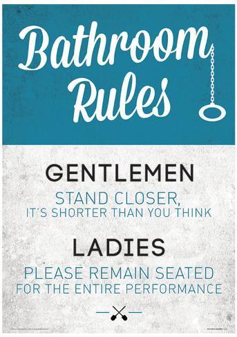 Bathroom Rules Funny Sign Poster Masterprint