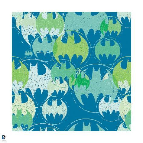 Batman Batman Symbol Pattern In Green In Blue Posters At