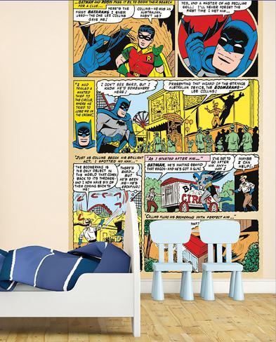 Batman comic panels wall mural wallpaper mural for Batman mural wallpaper uk