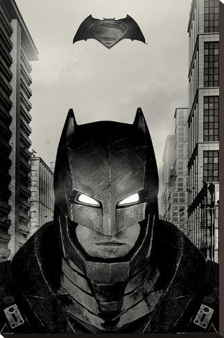 Batman vs. Superman- Armored Glare Stretched Canvas Print