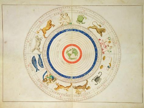 Zodiac Calendar, from an Atlas of the World in 33 Maps, Venice, 1st September 1553 Impressão giclée