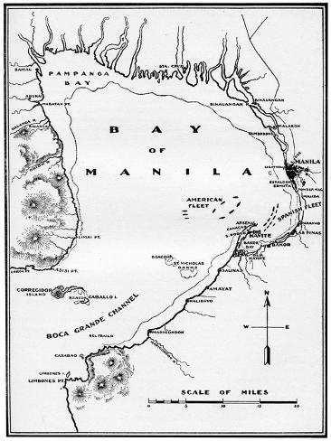 Spanish American War Philippines Map.Battle Of Manila Bay Philippines Spanish American War 1898 Giclee