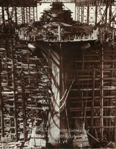 Battleship Indiana Under Construction Mini Poster