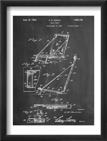 Beach Chair Patent Framed Art Print