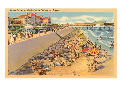 Beach Scene, Galveston, Texas Art Print