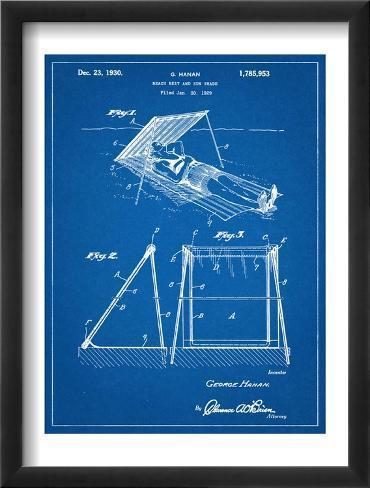 Beach Umbrella Patent 1929 Framed Art Print