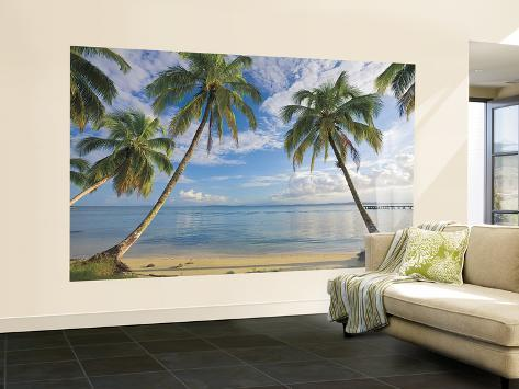 Beach view chair rail prepasted mural wallpaper mural for Beach view wall mural