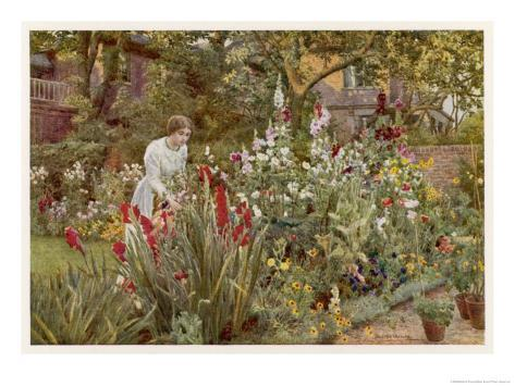 Mrs Spooner in Her Thames-Side Garden at Hammersmith West London Giclee Print