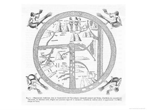 Medieval Map Showing Adam, Eve and the Serpent, Various Rivers and the Four Winds Blowing Giclee Print